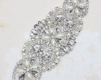 Wedding Belt with Clear Crystals and Pearls