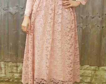 Dusky pink lace midi dress