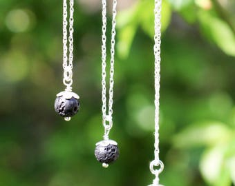 Simple delicate small sterling silver black semi-precious lava bead (6mm) orb necklace on a 16 inch sterling silver chain