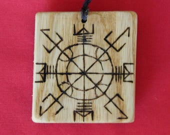 "Wooden Rune-bind amulet talisman ""Protection antiscan"" pyrography hand made Asatru Wicca Pagan elder FUTHARK"