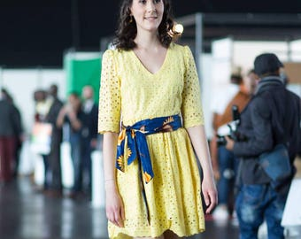 dress in yellow English embroidery / African dress
