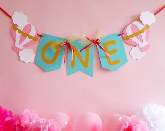 Pink, mint, coral, gold, first birthday hot air balloon one banner, birthday girl, photo prop