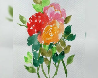 Original Watercolor Art Print, Scattered Blooms Series, Mini C, 6x4.5