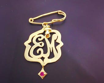 Monogram brooch-925  sterling silver or 14 kt gold plated