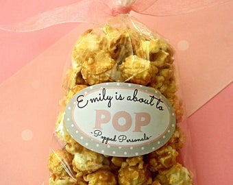 18 Custom Pink Baby Shower Popcorn Favors- She is about to Pop- Handmade Gourmet Caramel Popcorn
