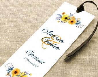 Placeholder wedding. Bookmark thank you wedding. Floral placeholder with yellow and orange, with or without Ribbon.