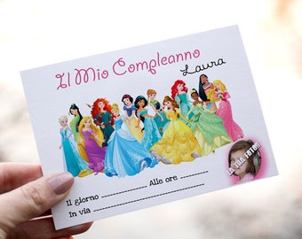 Birthday invitations for girls with Disney Princesses. Customizable with photo and name.