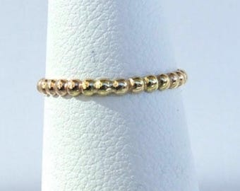 Gold  14 kt stretch bead Toe ring comfy!  U.K.