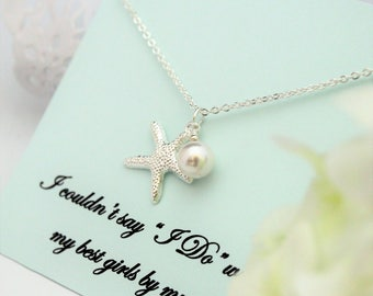 SET OF 5 Necklaces, Bridesmaid Proposal, Bridesmaid Necklace, Will you be My Bridesmaid, STARFISH Necklace Beach Wedding Bridesmaid Gift