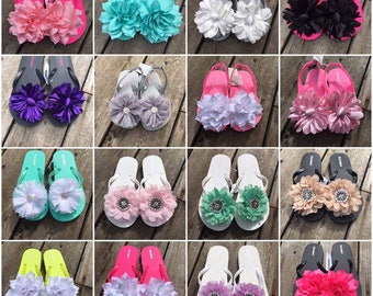 Super cute little girls flip flops sizes toddler 8/9 up to 3/4 in girls message for exact sizes and styles