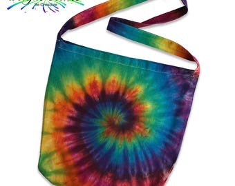 BoHo Eco Bright Rainbow Tie Dye Sling Bag hand dyed in Australia Sweatshop free