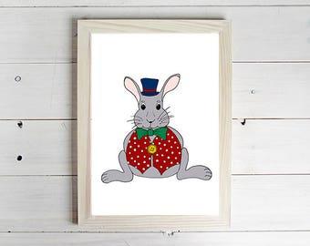 Mad Hatter Rabbit - Unframed Art Print, Rabbit Drawing, Nursery Picture, Animal Wall Art, Children's Decor, Kid's Bedroom.