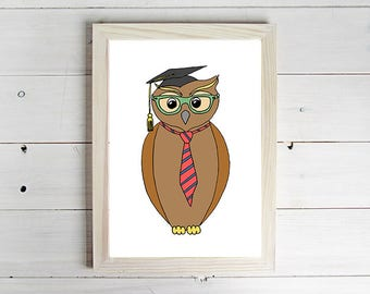 Graduate Owl - Unframed Art Print, Owl Drawing, Nursery Picture, Animal Wall Art, Children's Decor, Kid's Bedroom.