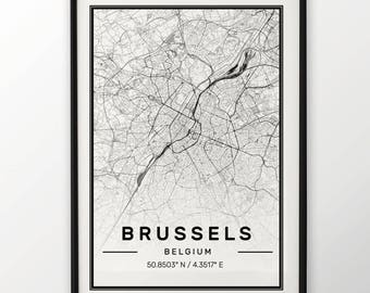 Brussels City Map Print, Modern Contemporary poster in sizes 50x70 fit for Ikea frame All city available London, New york Paris Madrid Rome