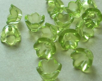 Lucite Acrylic Flower Beads, Small Bell Flowers, Translucent Lime Green, 24