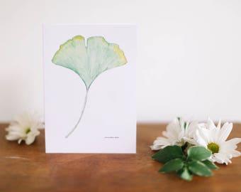 Gingko Leaf Greeting Card and Note Card