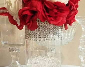 "7"" and 9.5"" cylinder vase decorated with rhinestone."