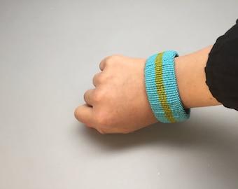 turquoise and lime green handmade beaded bracelet