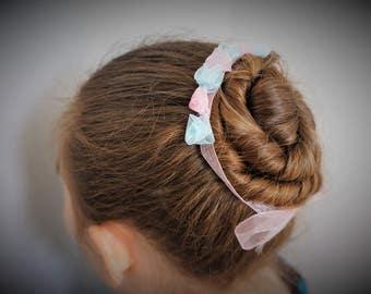 Blue Pink Bun Flower Ballet Bun Flower Dance Bun Accessory Bun Wreath Bun Wrap Ballet Garland Ballerina Bun Flower Bunflowers