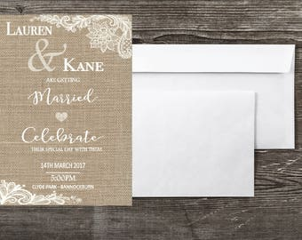 Rustic, Burlap, Vintage Lace Wedding Invitation - 5x7inch printable file