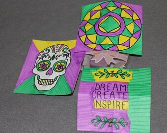 Dream, Create, Inspire,Card Set, love,skull, sugar skull, Gift card, gift set, party favor