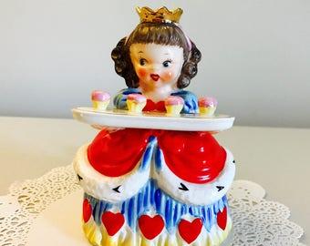 Vintage Napco Queen of Hearts Nursery Rhyme Storybook Series Valentine's Day Girl Figurine Japan 1950's
