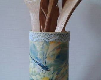 Dragonfly kitchen utensil holder - upcycled