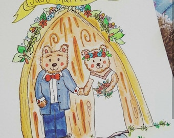 Teddy Bears - Wedding Card - Congratulations - Bride and Groom - Illustration