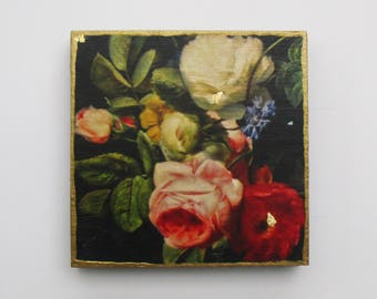 Beautiful Roses, Flower Art, Rose Wall Art, Dutch art, Rose Wall Decor, Red and White Roses, Old Masters Flowers, Gift for Her