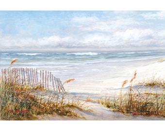 Beach Painting Print on White Wood