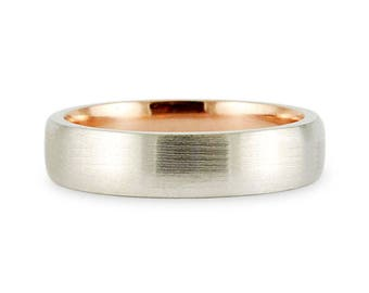 Solid 5mm 14k Two Tone White Rose Gold Brush Satin Finish Comfort Fit Wedding Band Ring // His Hers // All Sizes