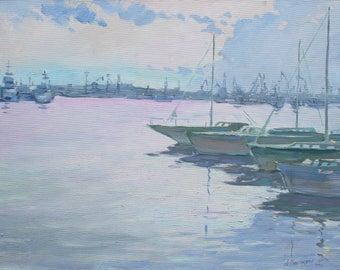 Boats painting IMPRESSIONISM Yachts Original artwork Evening Oil Seascape PLEIN AIR Blue landscape Wall art Oil on canvas by A. Onipchenko