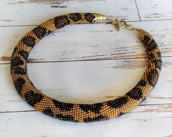 Crochet bead necklace Crochet jewelry Animal print Leopard print Gift for woman