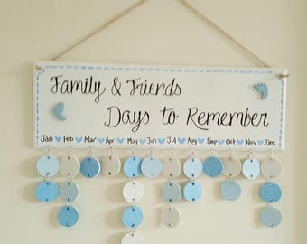 Birthday/Anniversary date reminder plaque baby blue
