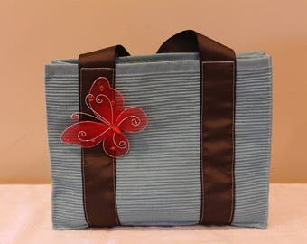 Girl's Blue Tote Bag with Butterfly
