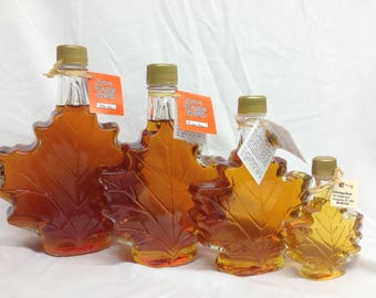 Pure Maple Syrup in Maple Leaf Bottle