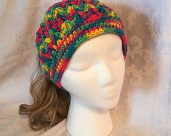 Bright Multi-colored Messy Bun Hat