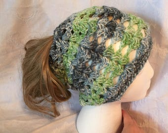 Green and Blue ponytail hat