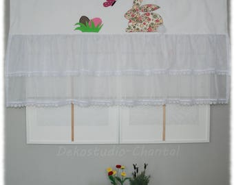 Easter Bunny curtain valance Easter eggs