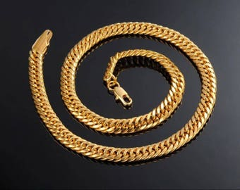 Men's gold plated thick necklace