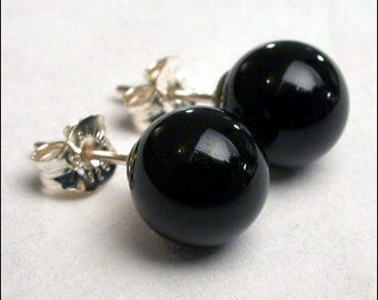Black Onyx 8mm Round Studs Earrings - Sterling Silver