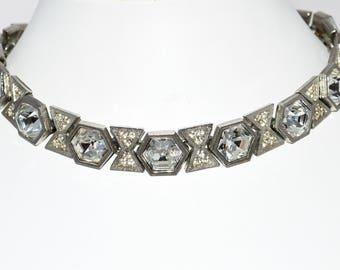 Haute Couture Designer Silver Necklace Fabulous Vintage Art Deco Revival Italian 1970s Vintage Jewellery Jewelry