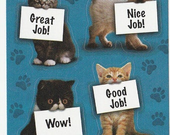 AGC Kitten Cat with Positive Caption Stickers Sheet