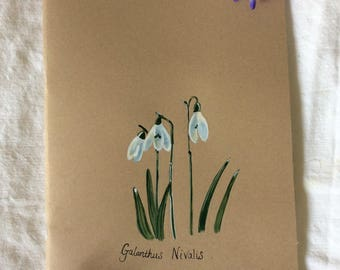 A4 Handpainted unlined Notebook/Journal, Snowdrops
