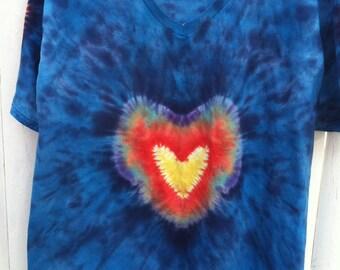 Tie Dye XL Heart Front + Heart Sleeve tee