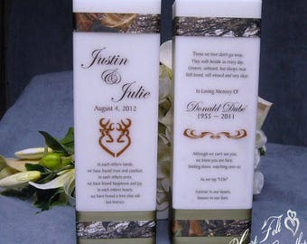 Wedding Memorial Candle - Rustic Unity Candle Set - Personalized Candles - Rustic Wedding