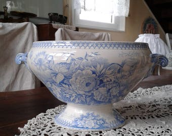 soup tureen blue decoration Sarreguemine