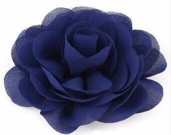 2 Navy Dark Blue Rose Flower Baby Girl Hair Clips 1 Pair