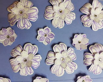"Purple Double Layered Flower Embellishments With  A Diamante Dentre 12 are 1 1/2 "" [ 4 cm] and 8 are 1 "" [2.5 cm] for paper crafting"