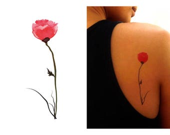 Temporary Tattoo of Watercolor Painted Poppy